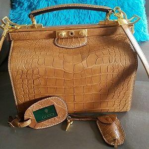 03b9e09b47f Gucci Bags - Gucci vintage alligator doctor bag